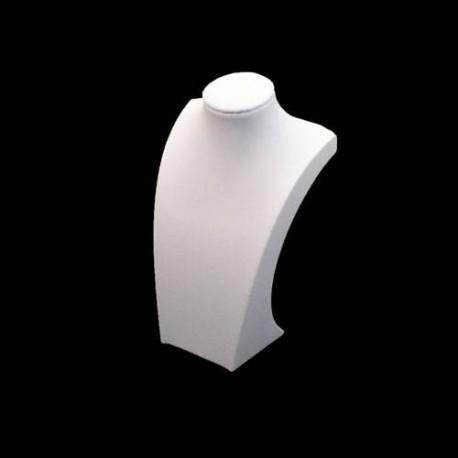 10 petits bustes pour collier en simili cuir blanc 20cm - 5526x10
