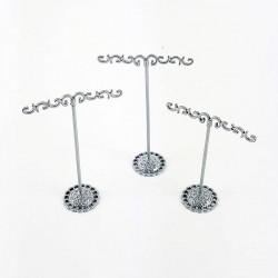 3 arbres à bijoux en métal gris pour boucles d'oreilles (2 paires) - 6342