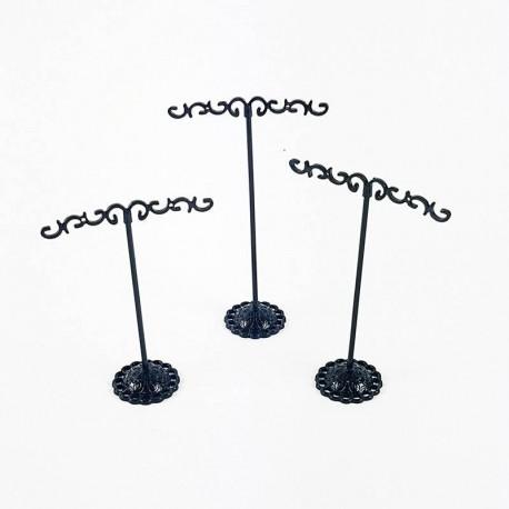 3 arbres à bijoux en métal noir pour boucles d'oreilles (2 paires) - 6341