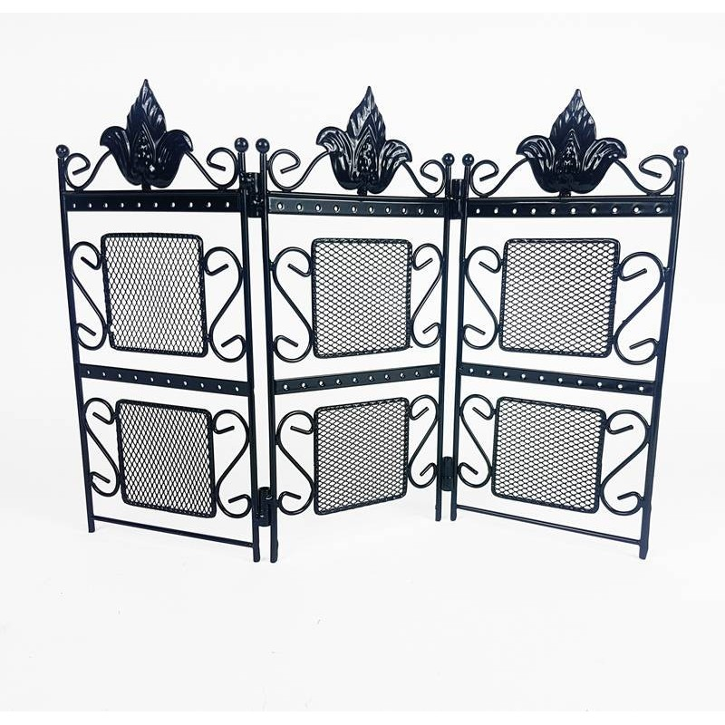 porte bijoux paravent m tal noir support boucles d 39 oreilles noir. Black Bedroom Furniture Sets. Home Design Ideas