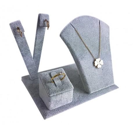 Petit présentoir en velours gris pour parure complète - 6710