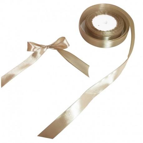 Bobine de ruban satiné en tissu de couleur beige doré - 5728