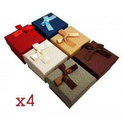 24 écrins bijoux 6 couleurs avec noeuds ruban - 6360