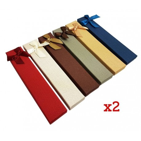 12 écrins bracelets 6 couleurs avec noeud ruban - 6362