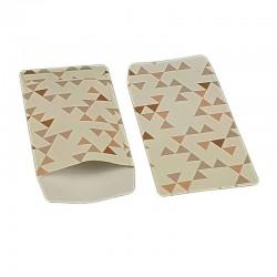 100 pochettes cadeaux 13.5x7cm blanches et roses motifs triangles - 6372