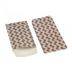100 pochettes cadeaux 13.5x7cm grises et roses motif scandinave - 6374