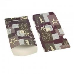 100 pochettes cadeaux 13.5x7cm grises et mauves motifs de Noël - 6375