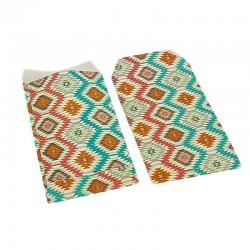 100 pochettes cadeaux 13.5x7cm multicolores motif ethnique - 6376