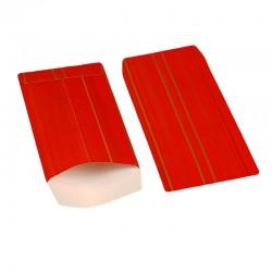 100 pochettes cadeaux 13.5x7cm rouges motifs rayures - 6377