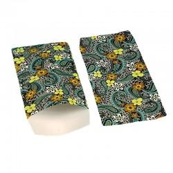 100 pochettes cadeaux 13.5x7cm noires et bleues motifs fleuris - 6379