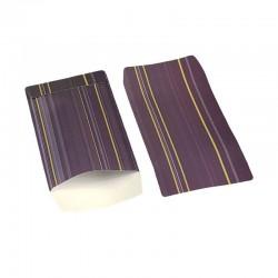 100 pochettes cadeaux 13.5x7cm violettes motifs rayures - 6380