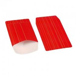 100 petits sachets cadeaux papier 10x6cm rouge à rayures - 6365