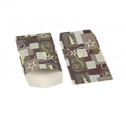 100 petits sachets cadeaux papier 10x6cm motifs de Noël gris et mauve - 6371