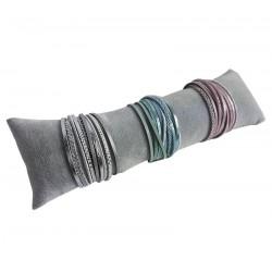 Coussin long en velours gris 25cm - 6415