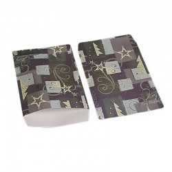 Lot de 100 sachets cadeaux gris et mauves motifs de Noël 17x11cm - 6383