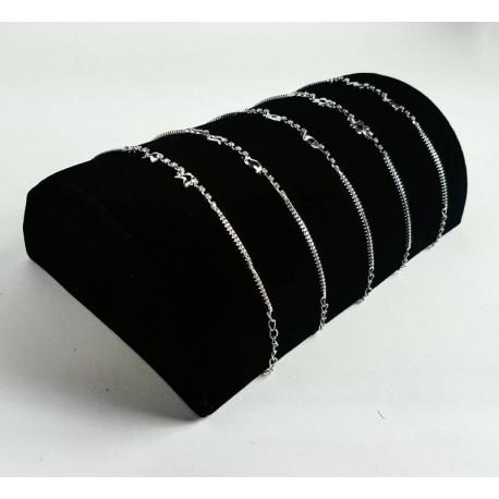 Support bracelets demi cylindre en velours noir - 6419