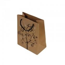 12 sacs cadeaux papier kraft couleur brun naturel motifs arbre à fleurs 14.5x11.5x5.5cm - 6449