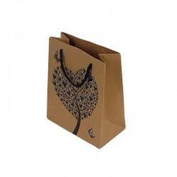 12 sacs cadeaux papier kraft couleur brun naturel motifs arbre à coeurs 14.5x11.5x5.5cm - 6450