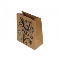 12 sacs cadeaux papier kraft couleur brun naturel motifs à fleurs 14.5x11.5x5.5cm - 6451