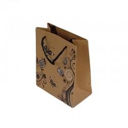 12 sacs cadeaux papier kraft couleur brun naturel fleurs et papillons 14.5x11.5x5.5cm - 6452