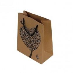 12 sacs cabas en papier kraft brun motifs arbre à coeurs 20x15x6cm - 6453