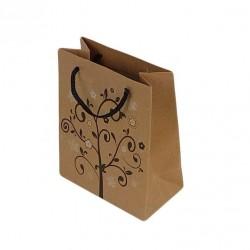 12 sacs cabas en papier kraft brun motifs arbre à fleurs 20x15x6cm - 6454