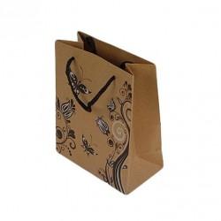 12 sacs cabas en papier kraft brun motifs fleurs et papillons 20x15x6cm - 6455