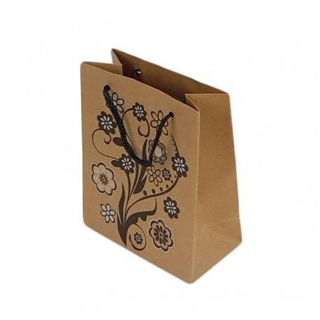 12 sacs cabas en papier kraft brun motifs fleurs 20x15x6cm - 7644