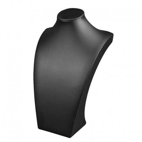 Grand buste bijoux en simili cuir noir 40cm - 6479