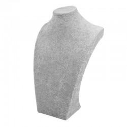 Grand buste bijoux en velours gris 40cm - 6481