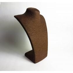 Grand buste collier en raphia marron chocolat 37cm - 6483