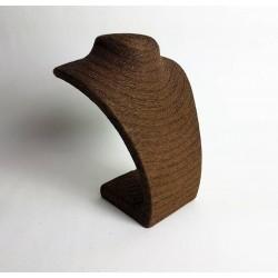 Buste collier en raphia couleur marron chocolat 27cm - 6487