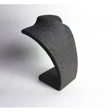 Buste collier en raphia couleur gris 27cm - 6489