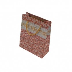 12 sacs cabas en papier kraft rouges motif baroque 20x15x6cm - 6512