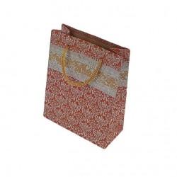 12 sacs cabas kraft de couleur rouge motif baroque 24.5x19x8cm - 6514