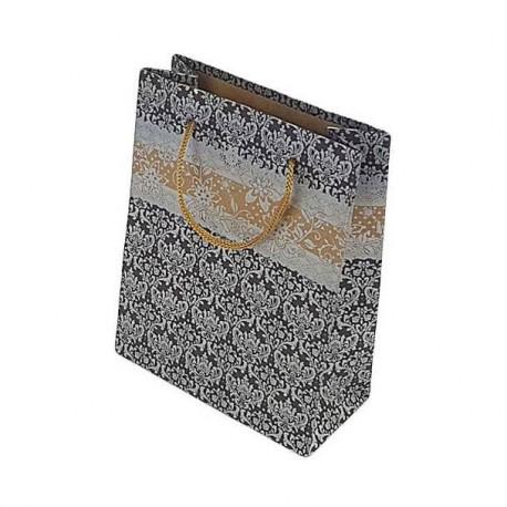 poche kraft poign e cordon lacet emballage kraft noir et argent. Black Bedroom Furniture Sets. Home Design Ideas