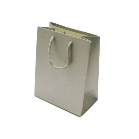 12 grands sacs cadeaux gris argenté 32x26x12cm - 6535
