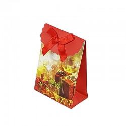12 petites pochettes cadeaux rouges motifs cadeaux 10.5x8x4cm - 6547