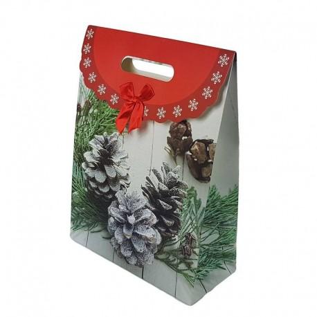 12 grandes boîtes cadeaux rouges motif pommes de pin 32x24x10.5cm - 6559