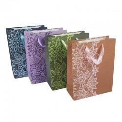 Lot de 12 sacs cadeaux motifs fleuris couleurs bleu, violet, rose et vert 31.5x25x10cm - 6570
