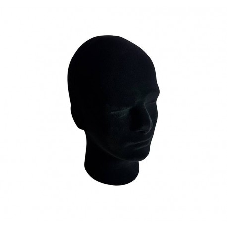 Tête homme en polystyrène noir 30cm - 6498