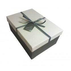 Boîte cadeaux couleur gris et écru 13x7.5x19cm