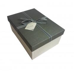 Boîte cadeaux couleur écru et gris souris 13x7.5x19cm