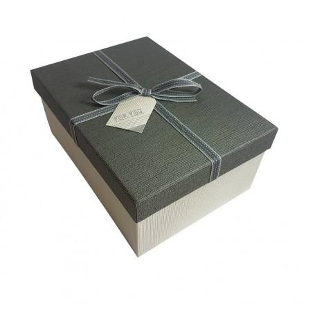 coffret cadeaux bicolore cru et gris bo te cadeaux noeud ruban gris. Black Bedroom Furniture Sets. Home Design Ideas