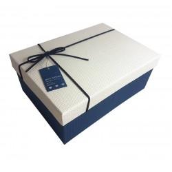 Boîte cadeaux couleur bleu foncé et blanc 14x8x20cm - 6437m