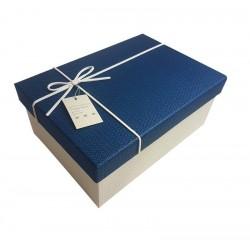 Boîte cadeaux bicolore blanche et bleue 11.5x6.5x17.5cm - 6433p