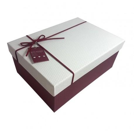 Boîte cadeaux bicolore bordeaux et blanche 11.5x6.5x17.5cm - 6430p