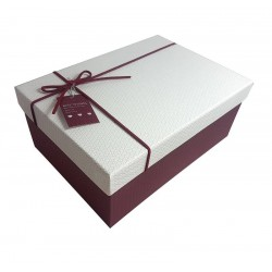 Boîte cadeaux couleur bordeaux et blanc 14x8x20cm - 6431m