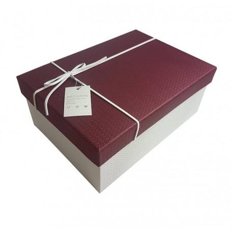 Boîte cadeaux couleur blanc et bordeaux 14x20x8cm - 6428m