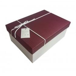 Grande boîte cadeaux blanche et bordeaux 16x9x22cm - 6429